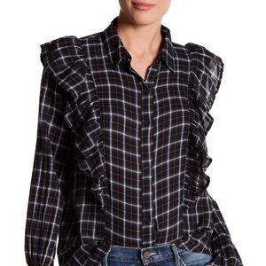 Abound Plaid Ruffle Shirt